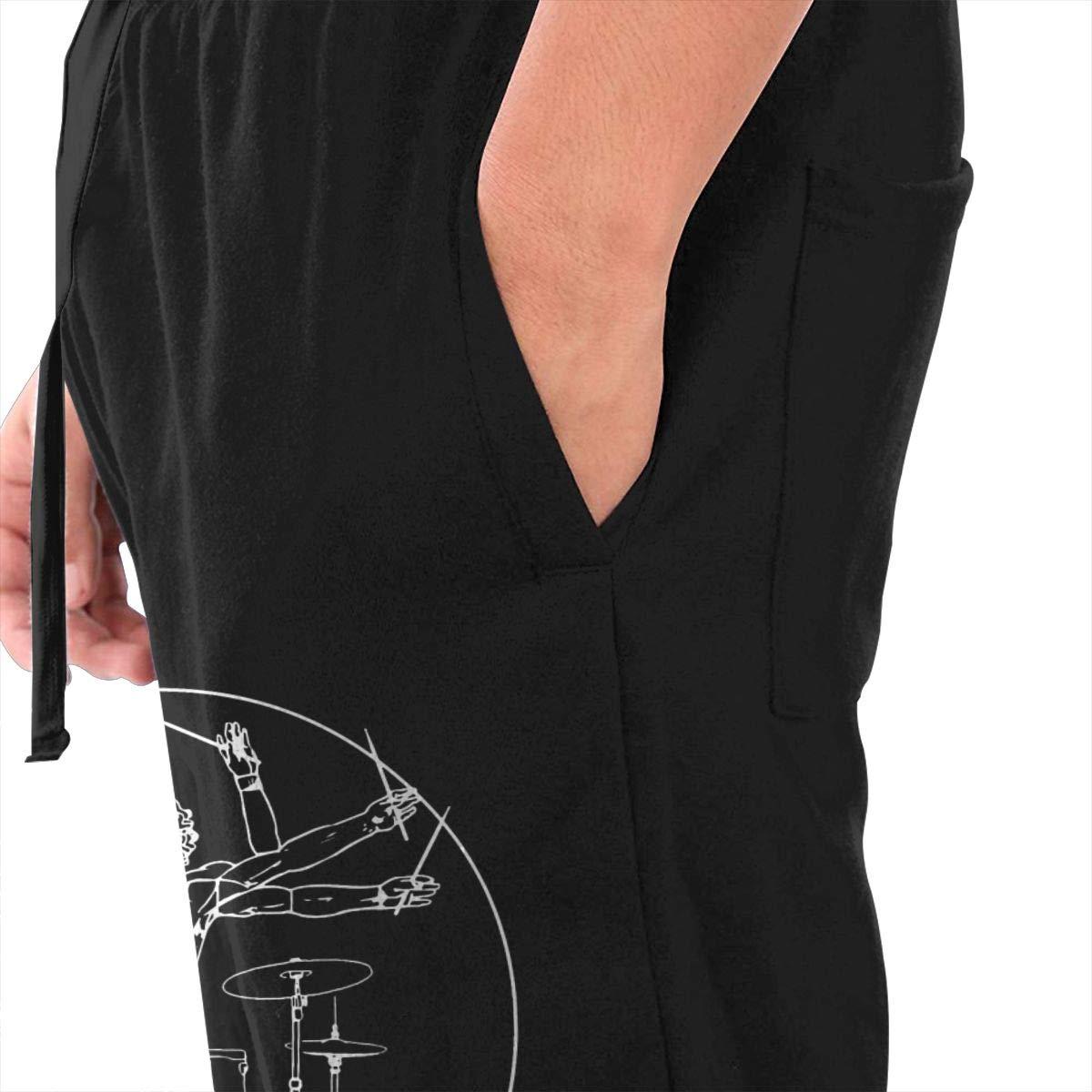 Da Vinci Drums Drawstring Waist,100/% Cotton,Elastic Waist Cuffed,Jogger Sweatpants Black