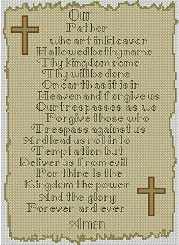 Lords Prayer Religion Cross Counted Cross