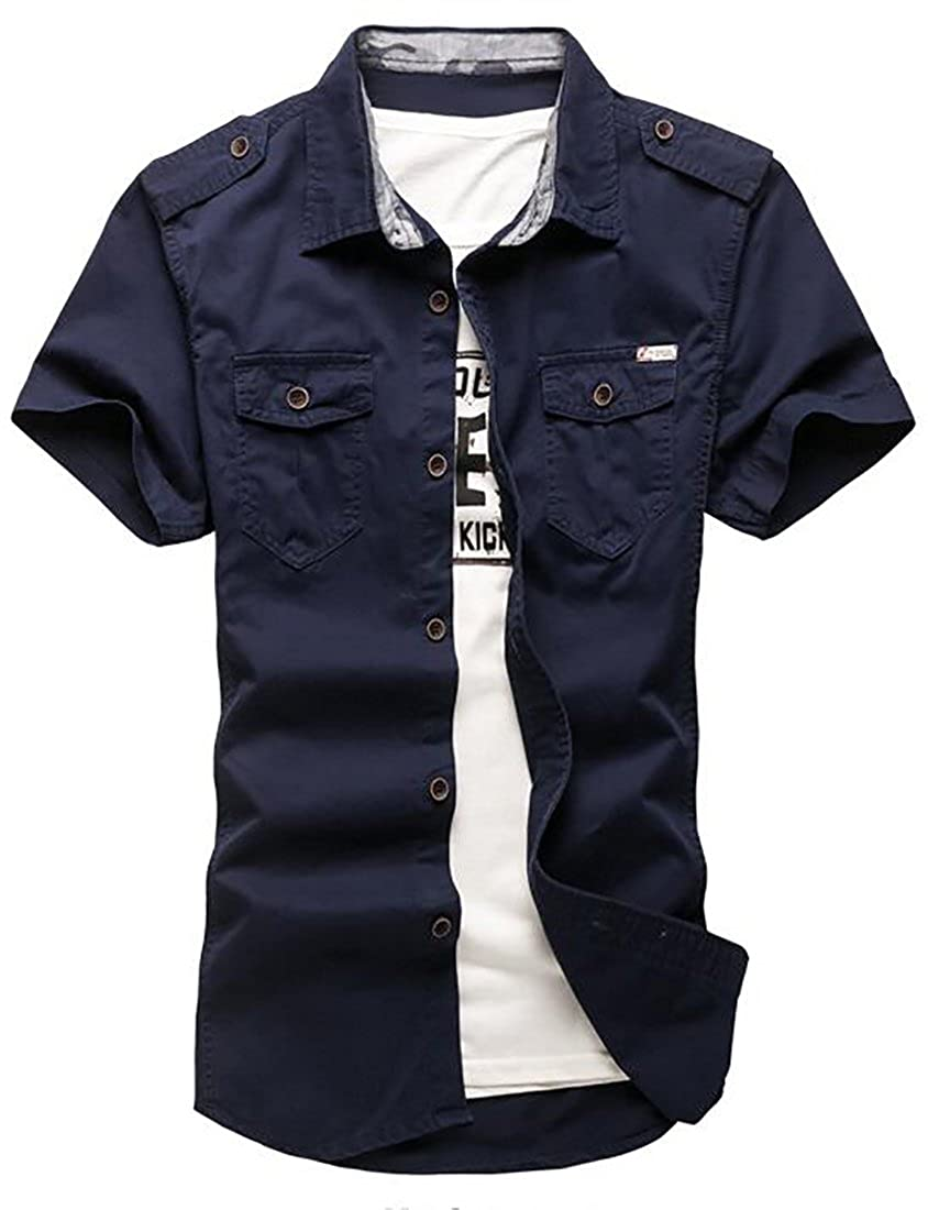 YYG-Men Pocket Solid Color Classic Lapel Short-Sleeve Button Down Shirts