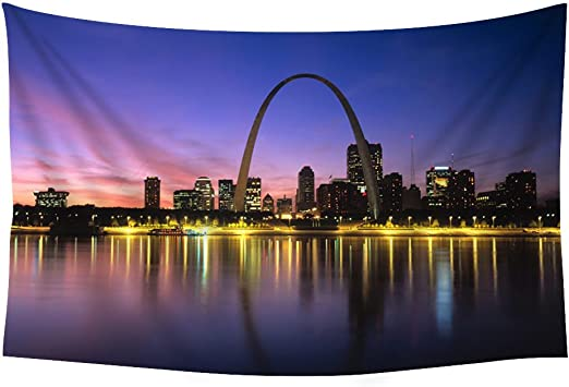 Pupbeamo Prints St Louis World 35173 Wall Tapestry Art For Home Decor Wall Hanging Tapestry Bedroom Living Room Dorm Decor 60x40 Inches Home Kitchen