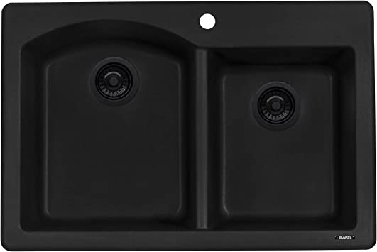 Ruvati 33 X 22 Inch Dual Mount Granite Composite Double Bowl Kitchen Sink Midnight Black Rvg1344bk Amazon Com
