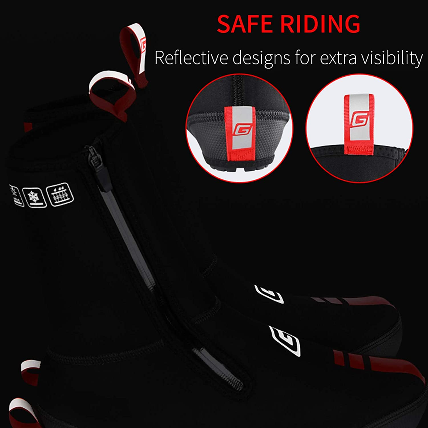 Rainproof Non-Slip Bicycle Shoes Cover for Road//MTB Winter Waterproof Reflective Windproof Bike Overshoes Warm Cycling Shoe Covers Cold Weather