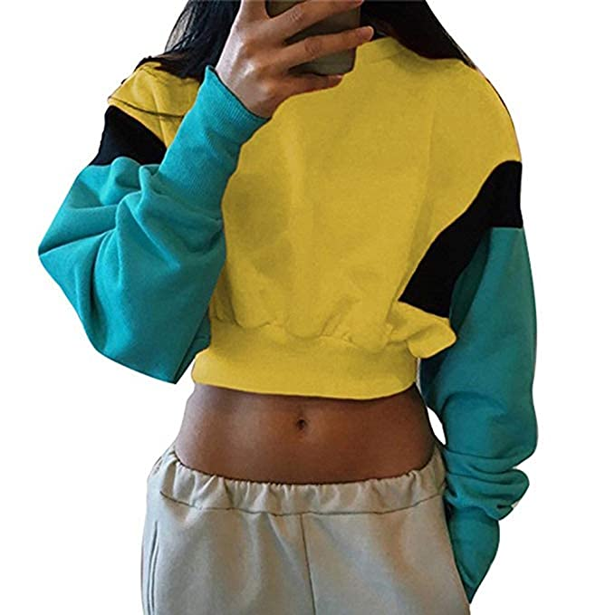 Nuevo 2018 Blusas de Moda Cuello Redondo de Manga Larga Colores Empalme suéter Camisas