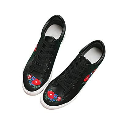 6d4a1560c4b2b Amazon.com | Dear Time Sneakers Lace-Up Embroidered Women White ...