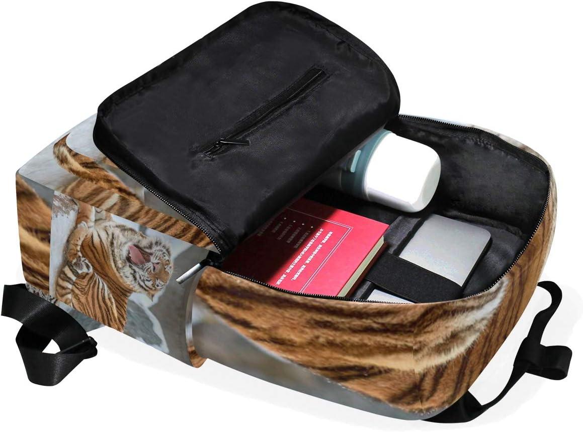 Laptop Backpacks College School Bookbag Travel Hiking Camping Daypack for Women Men 10.5x5.5x15 Holds 14-inch Laptop Tiger