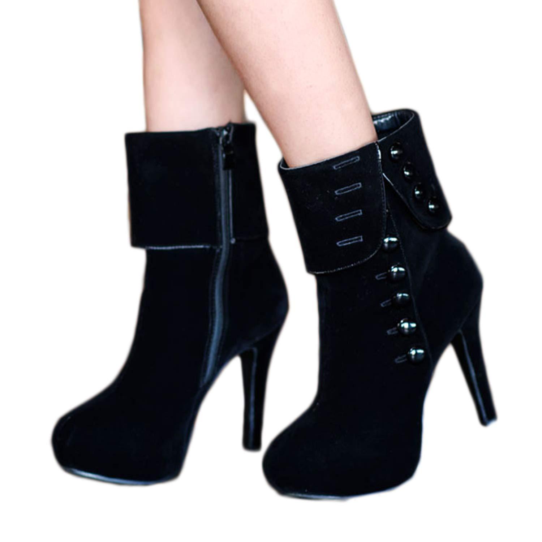 Whozx Womens Suede High Heel Side Zipper Ankle Booties Black