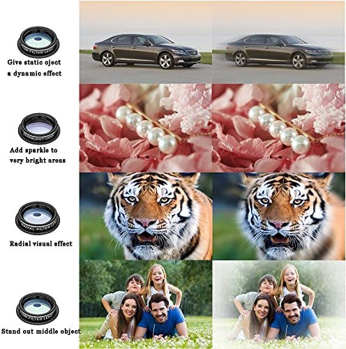 11 in 1 Cell Phone Camera Lens Kit Wide Angle Lens & Macro Lens+Fisheye Lens+Telephoto Lens+CPL/Flow/Radial/Star/Soft Filter+Kaleidoscope Lens Compatible for iPhone Samsung Sony and Most of Smartphone 61pfiumylYL
