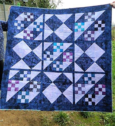 Purple and Blue Batik Patchwork quilt, handmade quilt, approx 54