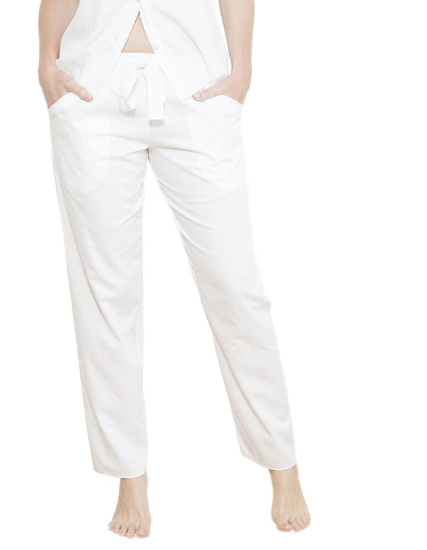 Cyberjammies 3723 Women's Georgia White Striped Satin Pajama Pyjama Pant