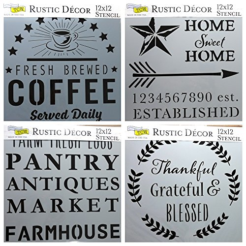 Workshop Crafters - 4 Crafters Workshop Mixed Media Stencils Set | for Arts, Card Making, Journaling, Scrapbooking | 12 Inch X 12 Inch Large Templates | Fresh Coffee, Home Sweet, Rustic Signs, Thankful