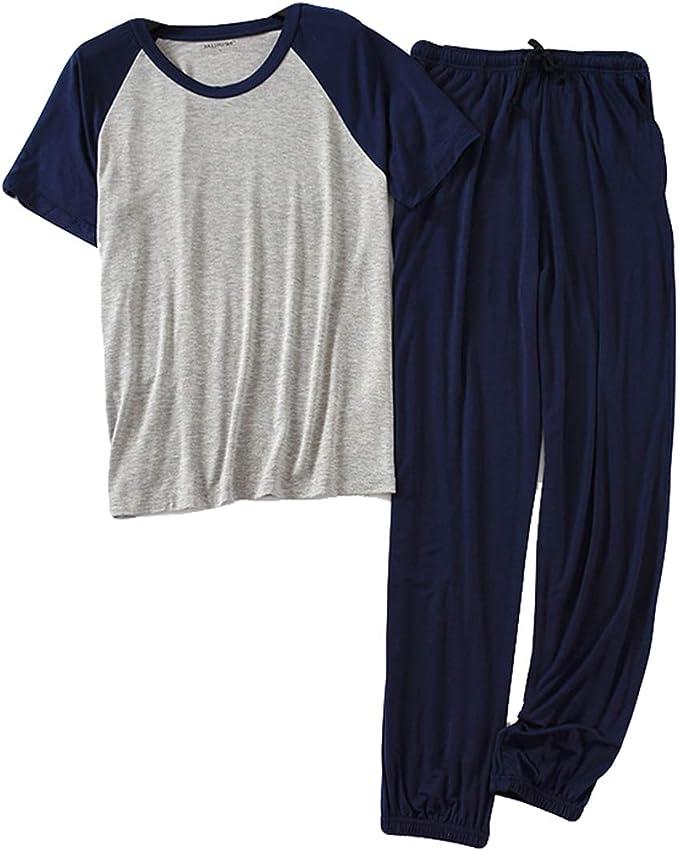 Conjunto de Pijama para Hombre 2 Piezas Ropa de Dormir Verano Cómodo Manga Corta Camiseta y Largo Pantalón Pijamas: Amazon.es: Ropa y accesorios