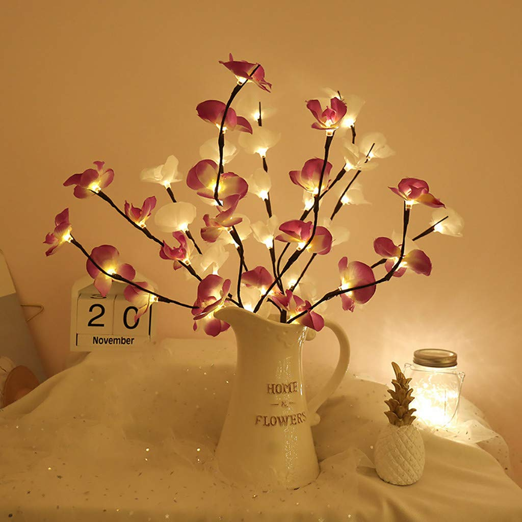 LLguz Lights,Fiber Optic Flower Tree Light 20 LED Lamp Beads Foldable Branches Adjustable Height Warm Light for Christmas,Valentines Day,Home Decor Party Garden Wedding