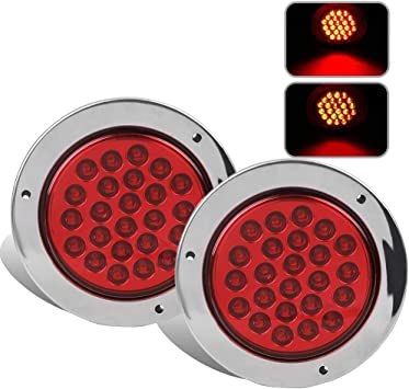 Pack of 2 Red//Amber Lights 4/'/' Inch Round LED Truck//Trailer Amber//Red Taillights with Rubber Grommet 16LED DC 12V Waterproof Stop Brake Running Turn Signal Lights Tail Lamps for RV Trailer