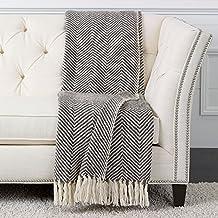 Ethan Allen Herringbone Knit Throw, Brown/White