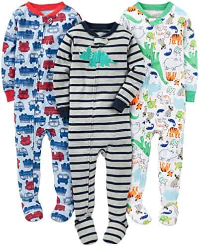 Simple Joys by Carter's Boys' 3-Pack Snug-Fit Footed Cotton Pajamas