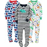 Simple Joys by Carter's Baby Boys' 3-Pack Snug-Fit Footed Cotton Pajamas, Fire Truck/Dino/Animals Green, 18 Months