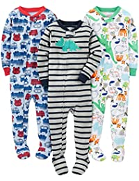 Boys' 3-Pack Snug Fit Footed Cotton Pajamas,