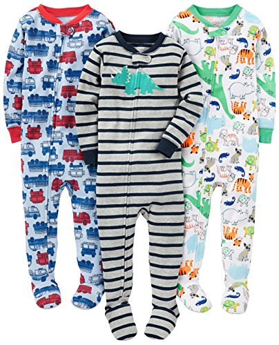 Cotton Sleeper Pajamas - Simple Joys by Carter's Baby Boys' 3-Pack Snug-Fit Footed Cotton Pajamas, Fire Truck/Dino/Animals Green, 12 Months