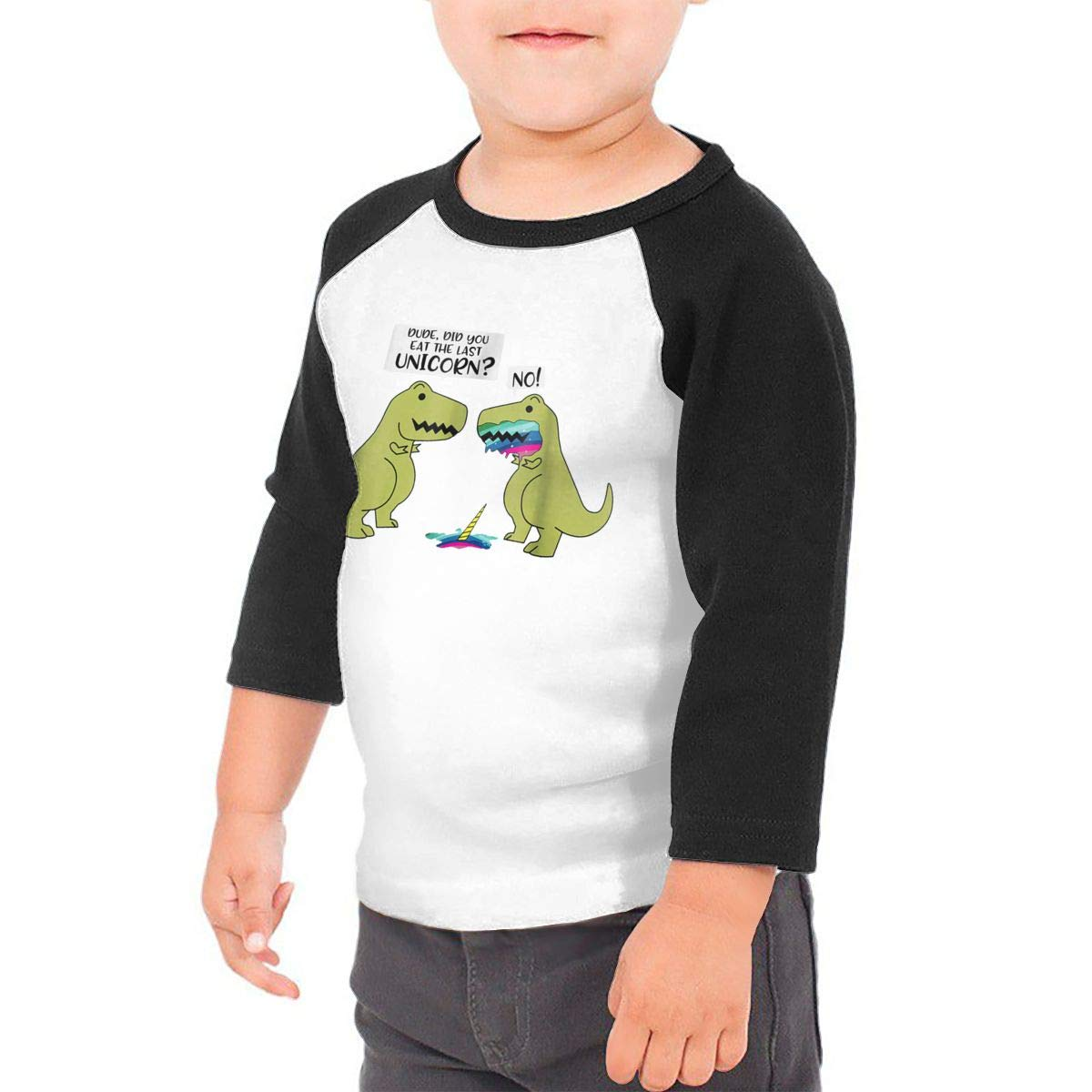 Dinosaur Kids Jersey Raglan T-Shirt Children 3//4 Sleeve Baseball Shirt Top