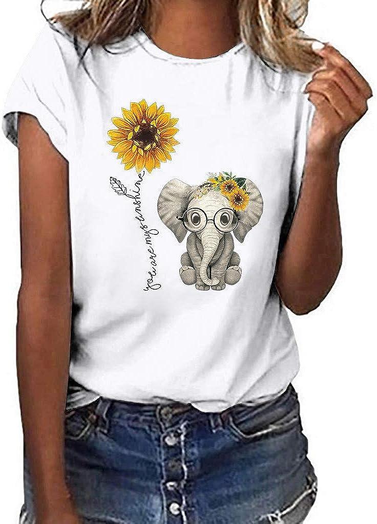 Hokoaidel Camiseta de Mujer Verano Girasol y Elefante Imprimir Camisa 2019 Verano Camisa Ropa de Casual Mujer para Camiseta Blusas Mujer Tops T-Shirt: Amazon.es: Ropa y accesorios