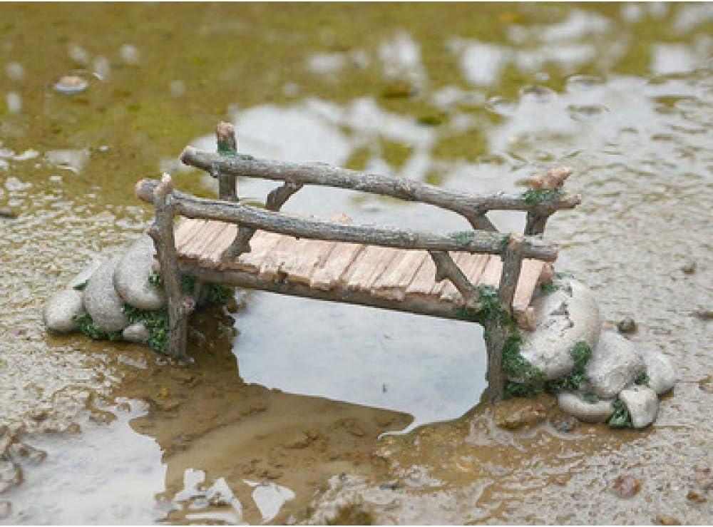 BRTTHYE Simulación Decoración Miniaturas Fairy Garden Resina Adoquines Puente Puente de Madera Decoración para el hogar Adornos de Escritorio L 20.5 * W 6 * H 6.5cm: Amazon.es: Hogar