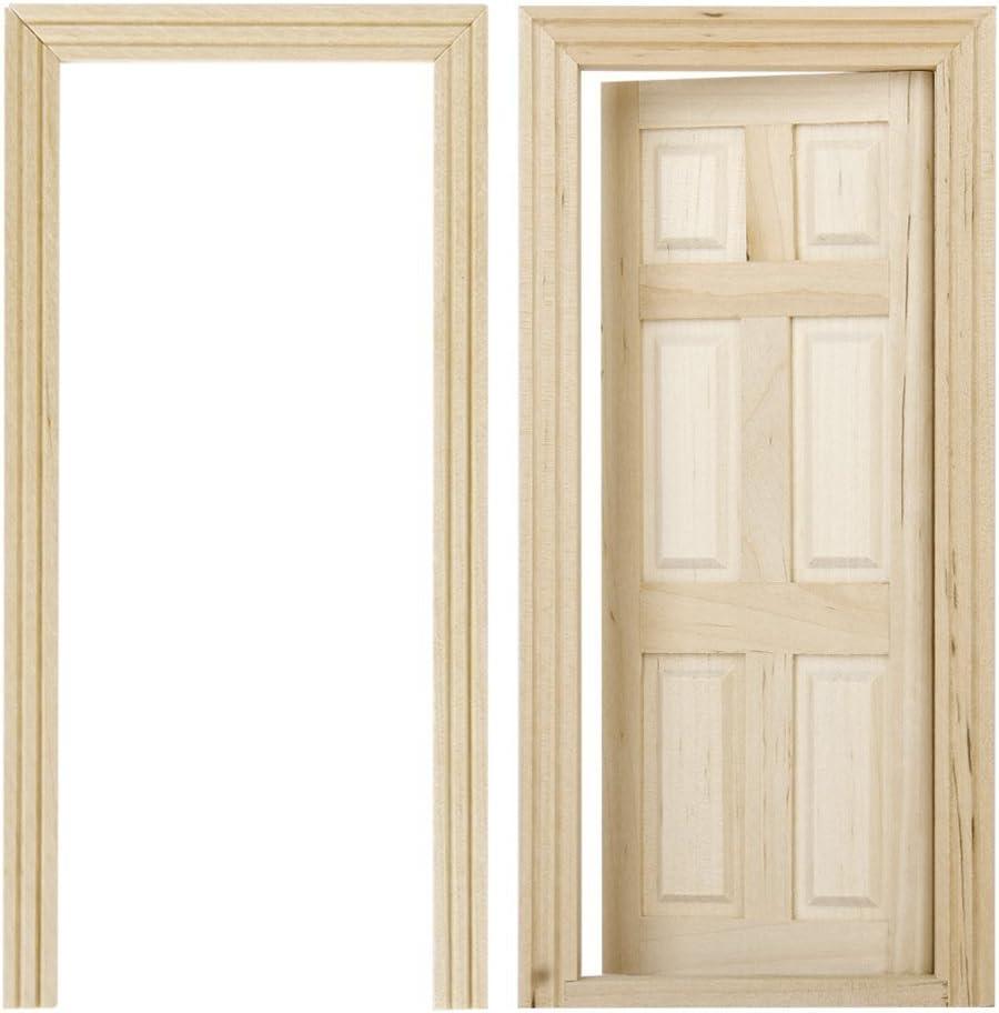 REFURBISHHOUSE 1/12 Puertas de Madera Interiores de 6 Paneles de Color de Madera en Miniatura de casa de muneca de DIY
