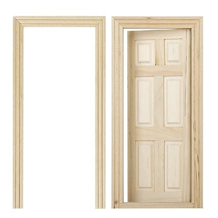 Puertas De Madera De Casa De Munecas Sodial R 1 12 Puertas De Madera Interiores De 6 Paneles De Color De Madera En Miniatura De Casa De Muneca De