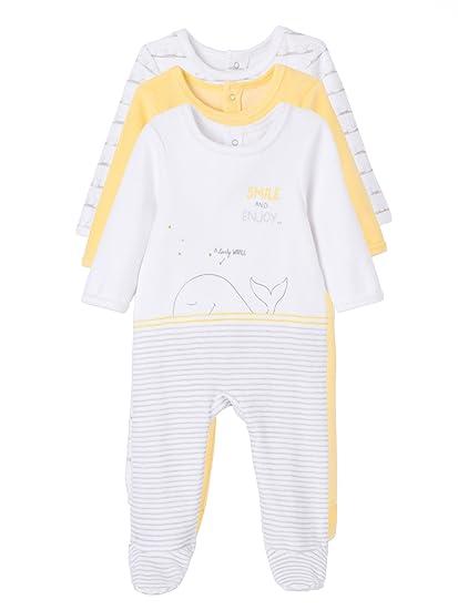 f1e394036 VERTBAUDET Lote de 3 pijamas estampados espalda con automáticos terciopelo bebé  Amarillo Palido 1M - 54CM