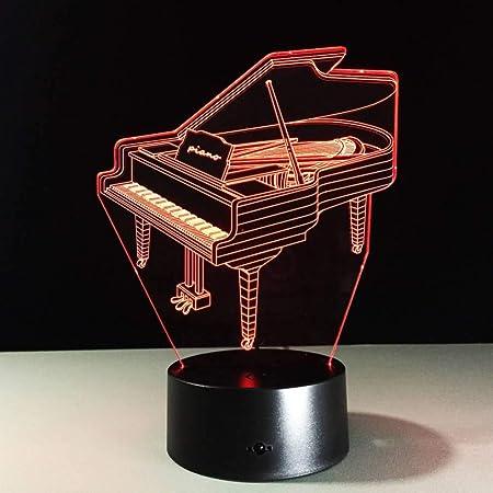 YDDLIE 3D LED Piano Luz de Noche Mesa Lámpara para niños 7 Colores ...