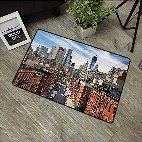 (Moses Whitehead Fabric Door Mat Rug City,Lower Manhattan Cityscape Famous Travel Destination NYC Avenue Historical,Dark Orange Grey Blue,with Non Slip Backing,35