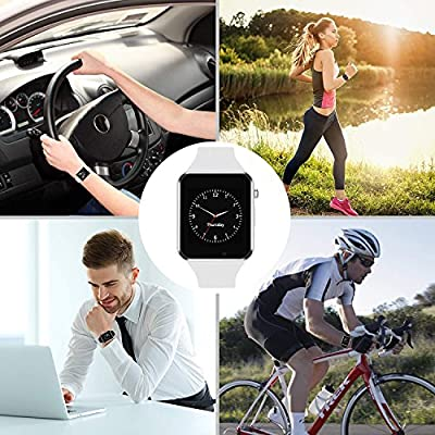 Bluetooth Smart Watch - WJPILIS Touch Screen Smart Wrist Watch Smartwatch Phone SIM Card Slot Camera Pedometer Sport Tracker Compatible iOS iPhone Android Samsung Kids Women Men (White)