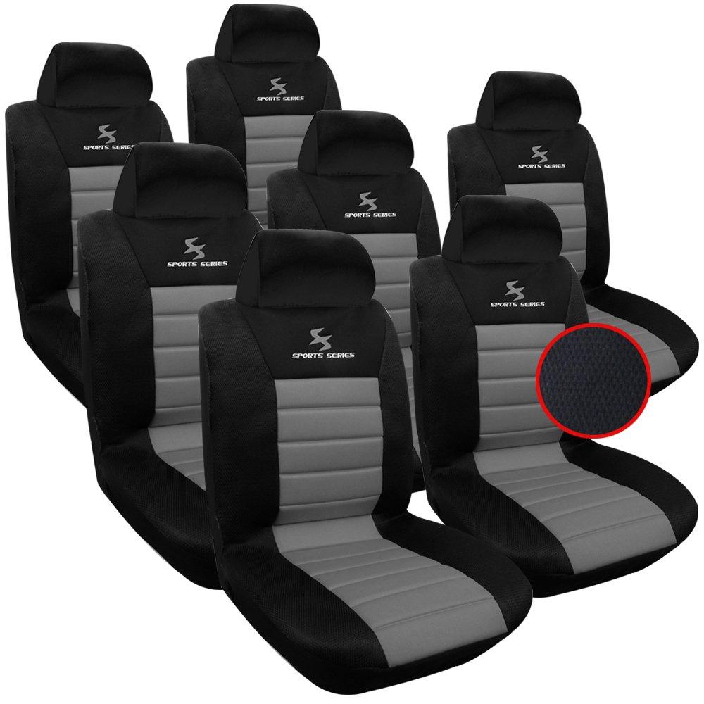 WOLTU AS7255-7 Set Coprisedili Auto 7 Posti Seat Cover Protezioni Universali per Macchina Tessuto Poliestere Nero//Grigio