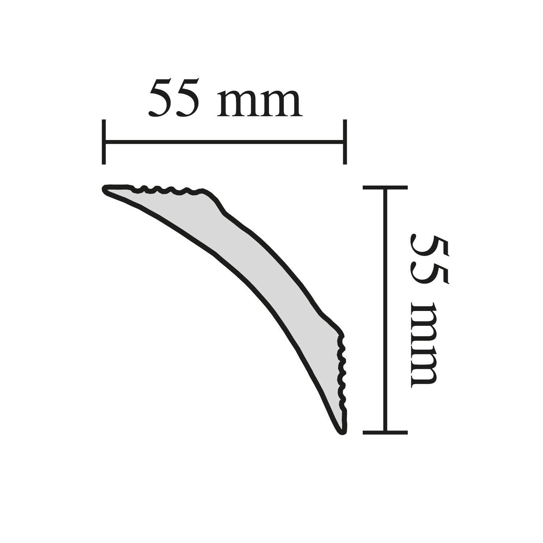 F/ür Decke oder Wand 5 Leisten /à 2 m L/änge = 10 m Zierleiste aus Styropor 55 x 55 mm Edle Stuckleiste in Wei/ß DECOSA Zierprofil B9 BERNADETTE