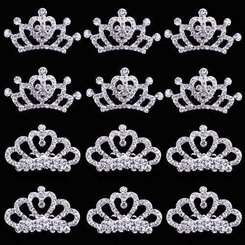 12 pcs Princess Crown Comb Tiara Hair Clips for Princess Party Favor