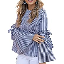 Chicwish Women's Dark Blue Stripes/Black Gingham Contrast Shirt Blouse Top With Bow Bell Sleeves