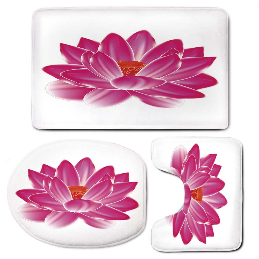 3 Piece Bath Mat Rug Set,Lotus,Bathroom Non-Slip Floor Mat,Vibrant-Lotus-Flower-Pattern-Spa-Zen-Yoga-Asian-Balance-Energy-Lifestyle-Artsy-Image,Pedestal Rug + Lid Toilet Cover + Bath Mat,Magenta-Red