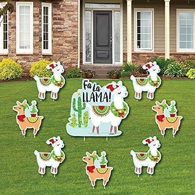 FA La Llama - Yard Sign and Outdoor Lawn Decorations - Christmas and Holiday Party Yard Signs - Set of 8