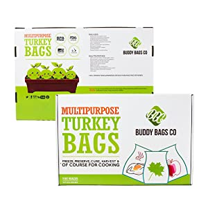 "Buddy Bags Co Multipurpose Nylon Turkey Oven Bags - 19"" x 24.5"" - 100 Pack"