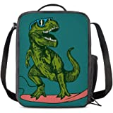 PrelerDIY Surfing Dinosaur Lunch Box Insulated Meal Bag Lunch Bag Food Container for Boys Girls School Travel Picnic