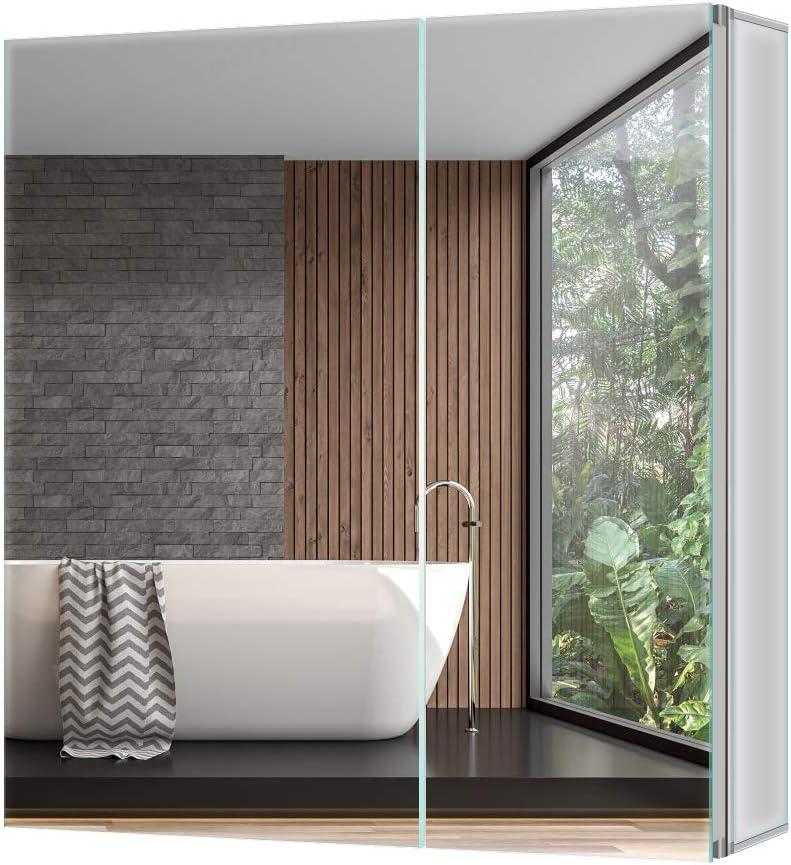 Tokvon Pigeonwing Muebles de baño Mueble de Espejo de Aluminio con ...
