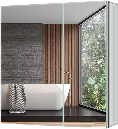 Tokvon Pigeonwing Muebles de baño Mueble de Espejo de Aluminio con Grandes estantes Ajustables Storge Puerta Doble 650x600 mm: Amazon.es: Hogar
