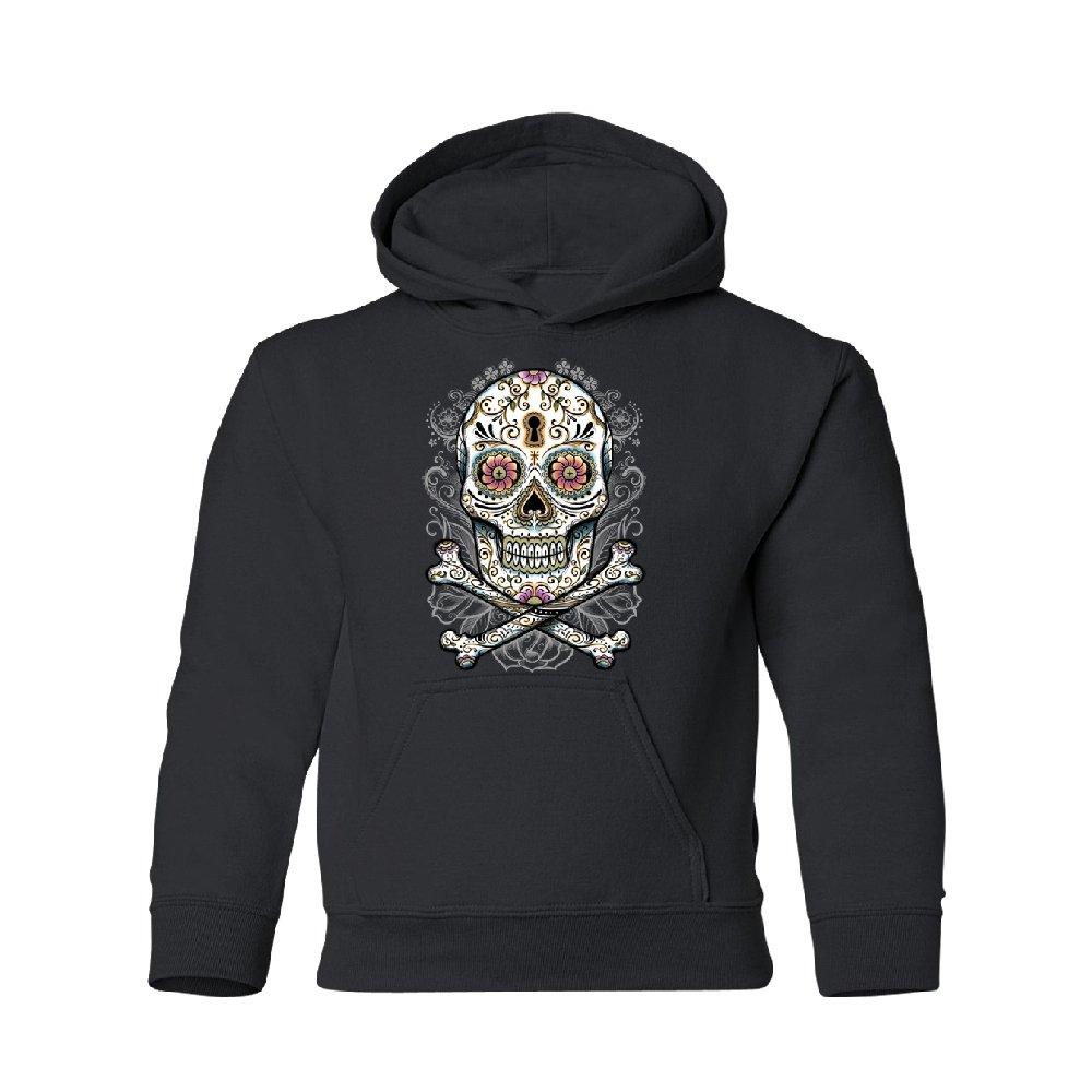 Day Of Dead Sugar Skull Youth Hoodie Brand New Sweatshirt Black Youth Medium by Zexpa Apparel (Image #1)