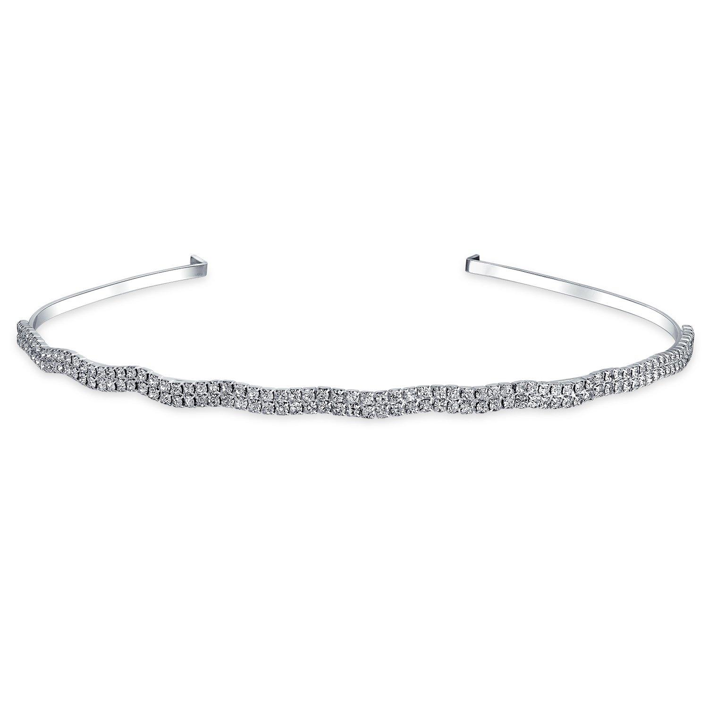 Bling Jewelry Serre-t/ête l/éger ondul/é Peigne de Mariage Casque Strass Accessoires Cheveux mari/ée Femmes Prom Parti Pageant
