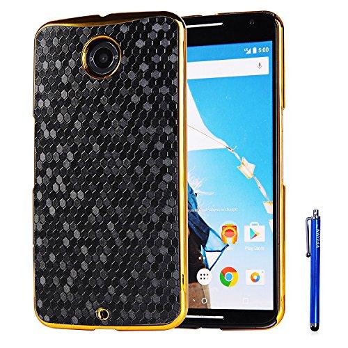 Nexus 6 Case,Vfunn Elegant Plating Hard Back Case Cover for Motorola Google Nexus 6 with 1 Clear Screen Protector 1 Stylus Pen (Nexus 6 Case) (Black)