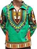 RaanPahMuang European Poets Collar Long Sleeve Shirt African Dashiki Plus Size, XXX-Large, Green Review