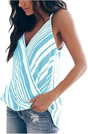 Camiseta sin Manga Mujer, Verano Camisetas de Tirantes Casual Moda Cuello en V Camiseta Elegante Suelto Impresión de Rayas Camisas Tops Blusa Shirts