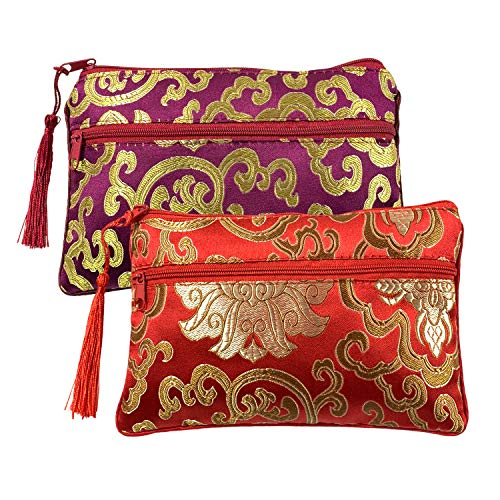 (Gold Fortune 2PCS Silk Brocade Padded Tassel Double Zipper Jewelry Pouch Drawstring Coin Purse Gift Bags Value Set (Wine Red & Red))