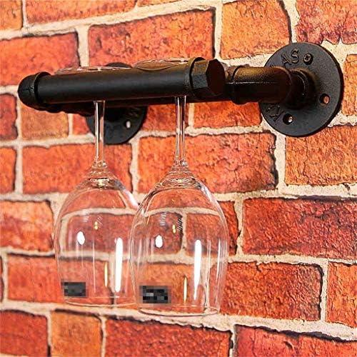 IAIZI Loft muur Ophangijzer Wijnrekken Retro Industriële Water Pijpen Bar Versier Wijnflessenplanken Goblets plank, Zwart