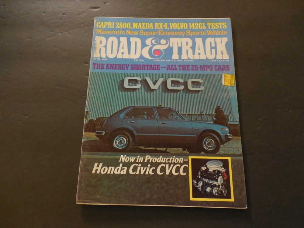 Road Track Apr 1974 Honda Civic CVCC; Capri 2800; Mazda RX-4; Volvo