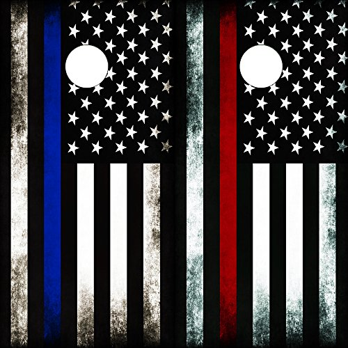 Speed Demon Hot Rod Shop Cornhole Board Wraps ~ Combo Red & Blue Subdued Flag Corn hole Boards Laminated Decal Wraps (Set of 2) CHB